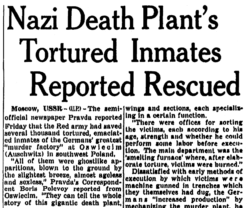 An article about Auschwitz, Milwaukee Journal newspaper article 2 February 1945