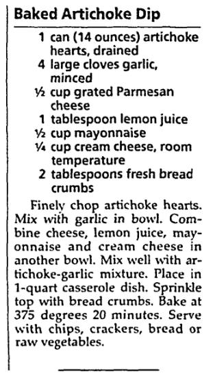 A dip recipe, Milwaukee Journal Sentinel newspaper article 20 September 1995