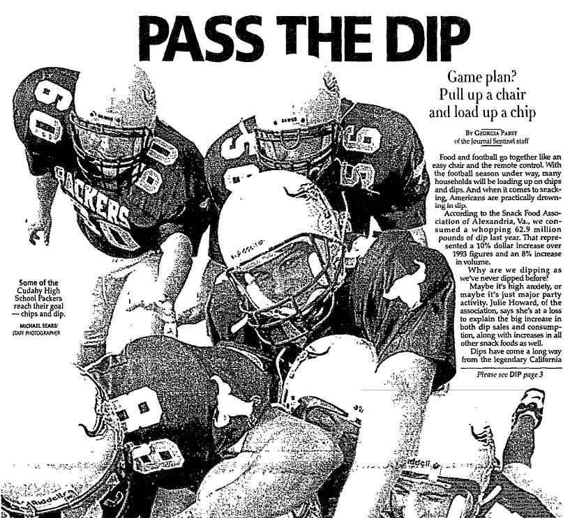 Dip recipes, Milwaukee Journal Sentinel newspaper article 20 September 1995