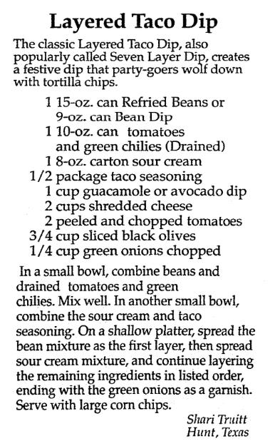 A dip recipe, Mobile Register newspaper article 1 November 1990