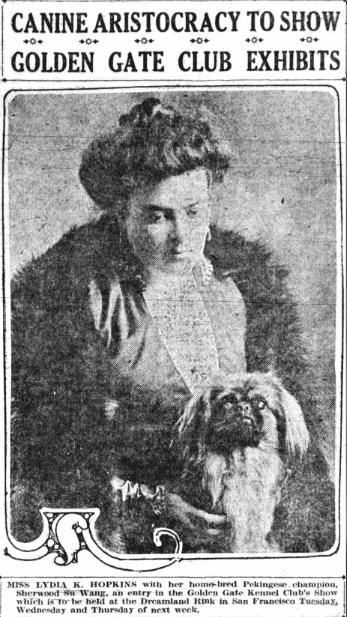 Photo: Lydia Hopkins with her Pekingese champion, Sherwood Su Wang, 16 May 1915