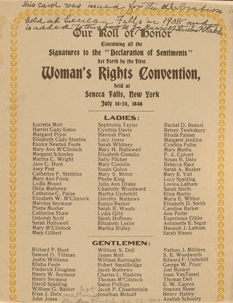 Photo: signers of the Declaration of Sentiments at Seneca Falls in order; Lucretia Coffin Mott is on top of the list