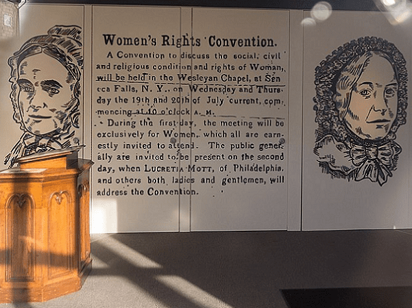 Photo: text of the small ad that attracted a wide and diverse meeting of women and men at the first Women's Rights Convention, held in Seneca Falls, New York, during July 1848. Credit: Marc Nozell; Wikimedia Commons.