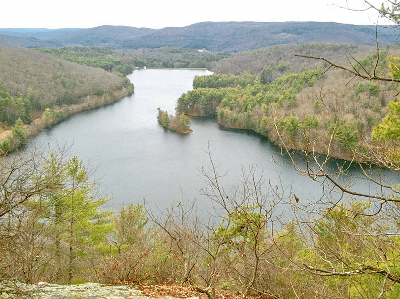 Photo: Lake McDonough reservoir as seen from the Tunxis Trail Overlook Spur trail, Barkhamsted, Connecticut