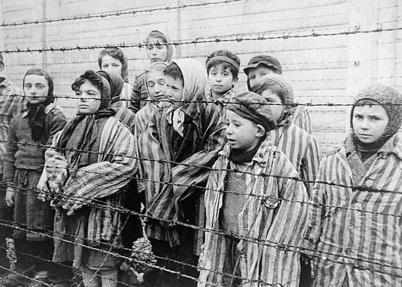 Photo: young survivors at Auschwitz, liberated by the Red Army in January 1945