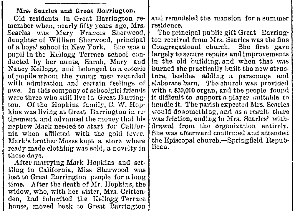 An article about Mary Searles, Repository newspaper article 22 August 1891