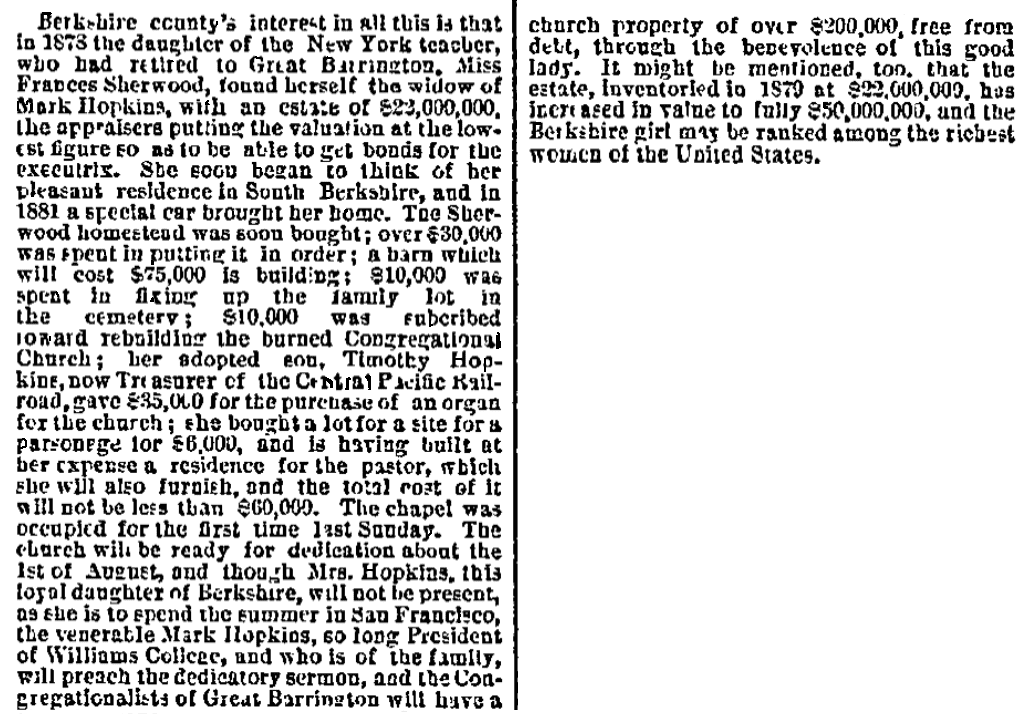 An article about Mary Hopkins, San Francisco Bulletin newspaper article 14 July 1883