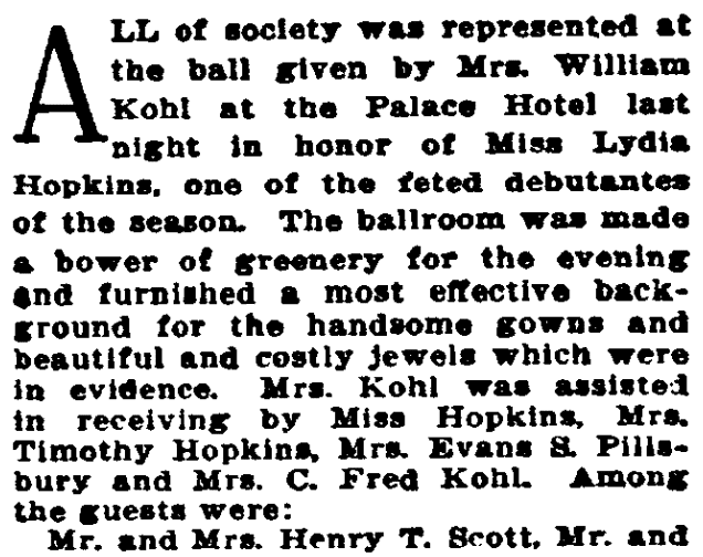An article about Lydia Hopkins, San Francisco Call Bulletin newspaper article 19 January 1907