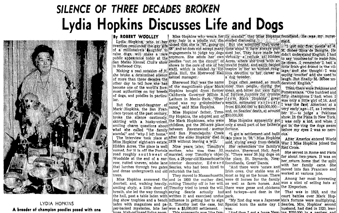 An article about Lydia Hopkins, San Francisco Chronicle newspaper article 8 August 1954