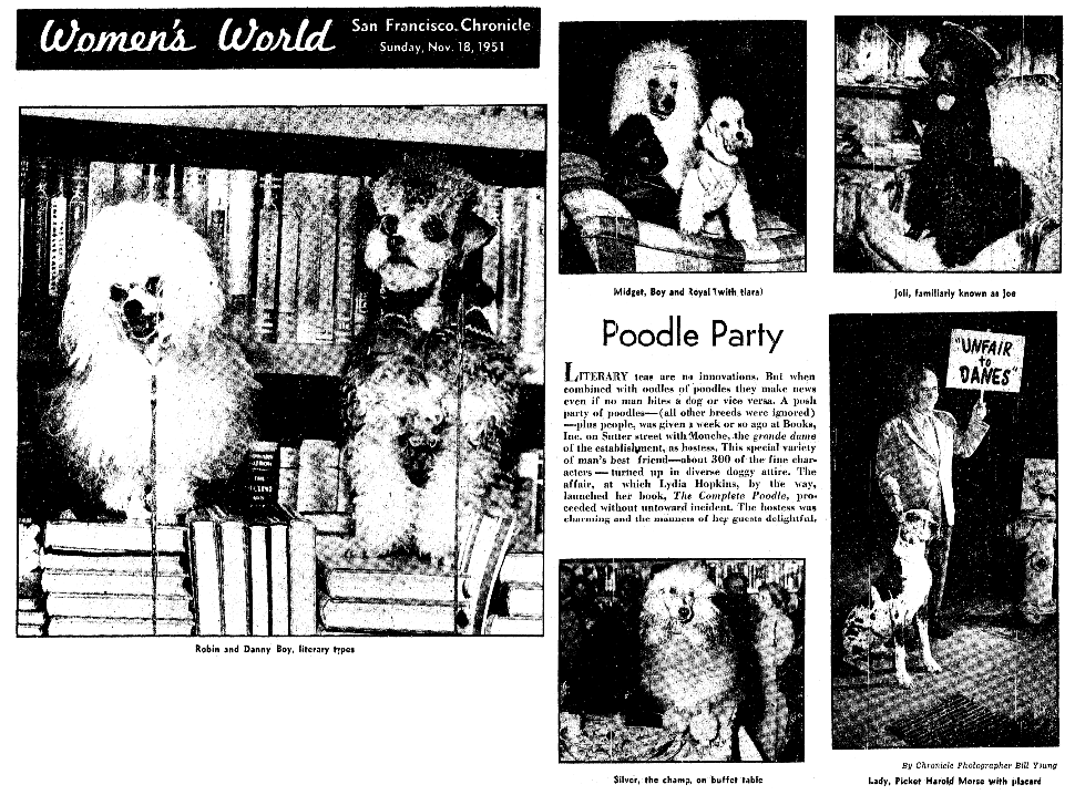 An article about Lydia Hopkins, San Francisco Chronicle newspaper article 18 November 1951