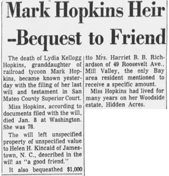 An article about the death of Lydia Hopkins, San Francisco Examiner newspaper article 4 February 1965