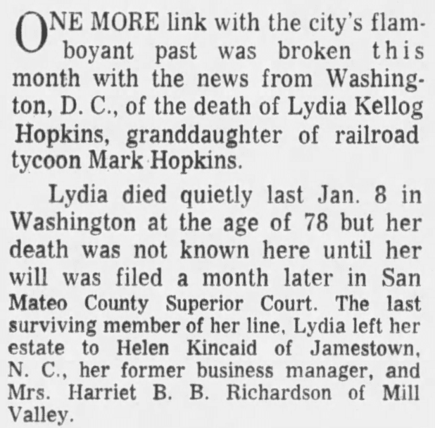 An article about the death of Lydia Hopkins, San Francisco Examiner newspaper article 14 February 1965