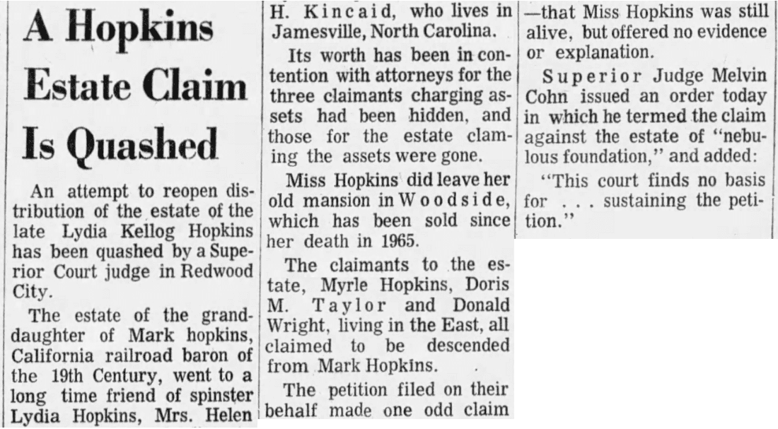 An article about Lydia Hopkins' estate, San Francisco Examiner newspaper article 12 June 1970