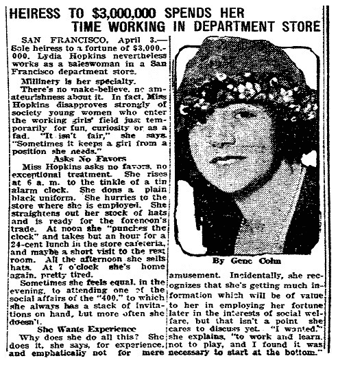 An article about Lydia Hopkins, San Luis Obispo Daily Telegram newspaper article 3 April 1923