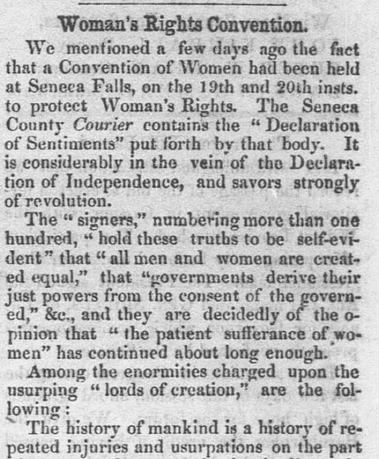 An article about the Seneca Falls Convention, Semi-Weekly Eagle newspaper article 17 August 1848