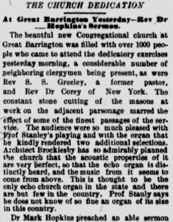 An article about the dedication of the Great Barrington Church, Springfield Republican newspaper article 22 September 1883