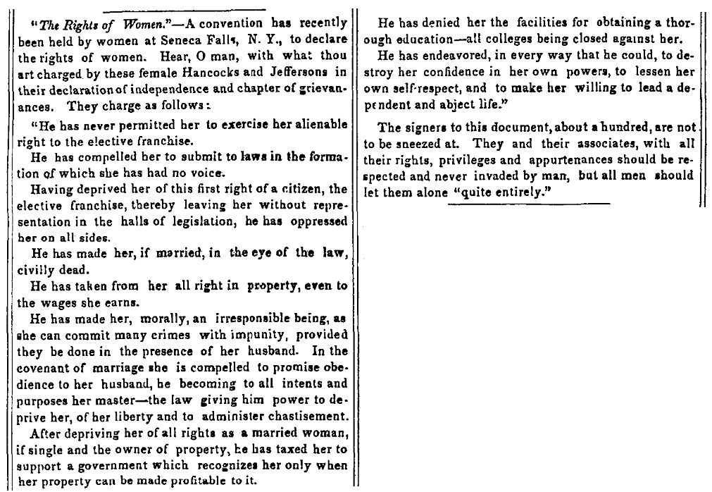 An article about the Seneca Falls Convention, Vermont Mercury newspaper article 4 August 1848