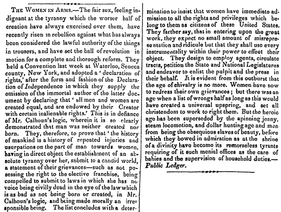 An article about the Seneca Falls Convention, Westchester Herald newspaper article 8 August 1848