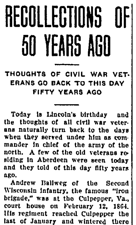 "A ""50 Years Ago"" newspaper column, Aberdeen Daily News newspaper article 12 February 1914"