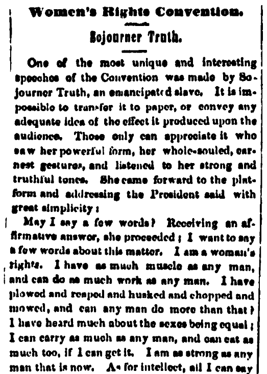 An article about Sojourner Truth, Anti-Slavery Bugle newspaper article 21 June 1851