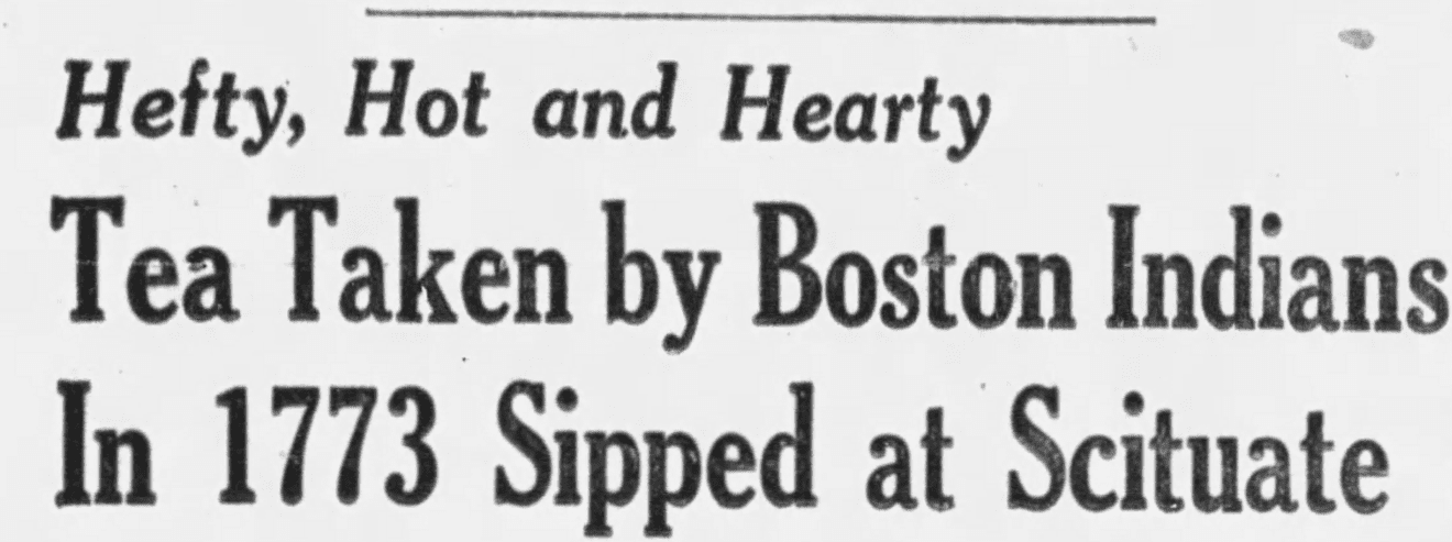 "An article about the ""Second Boston Tea Party,"" Boston Globe newspaper article 17 October 1956"