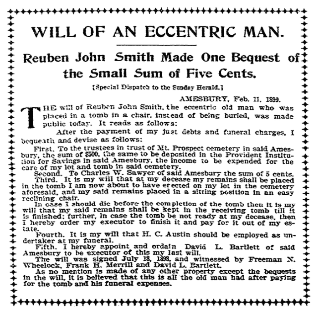 An article about Reuben John Smith's will, Boston Herald newspaper article 12 February 1899