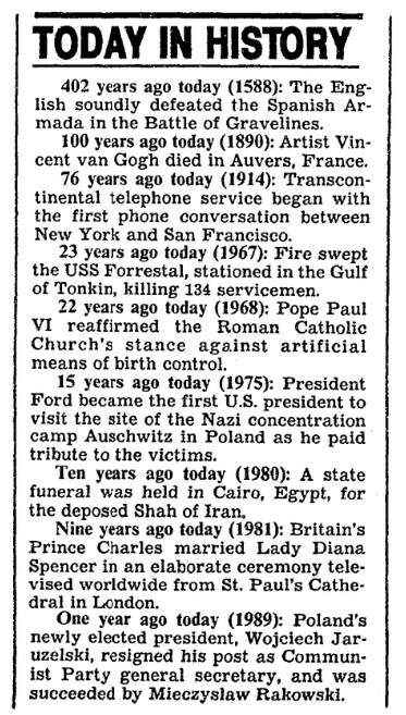"A ""Today in History"" newspaper column, Boston Herald newspaper article 29 July 1990"
