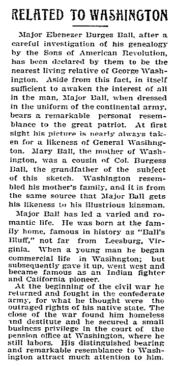An article about a relation to George Washington, Butte Weekly Miner newspaper article 24 February 1898
