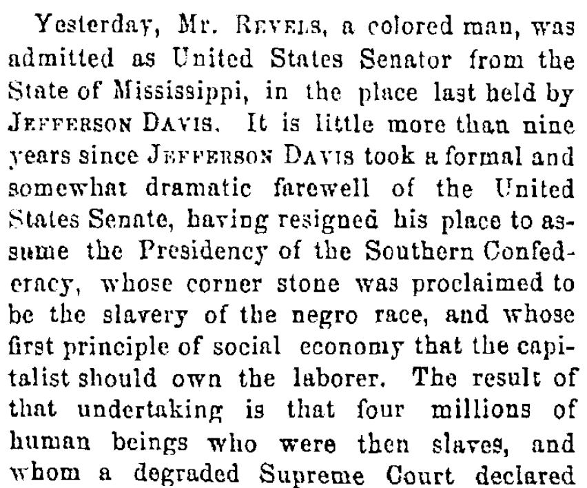 An article about Hiram Revels, Cincinnati Daily Gazette newspaper article 26 February 1870