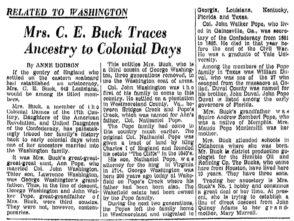 An article about a relation to George Washington, Corpus Christi Caller-Times newspaper article 22 February 1948