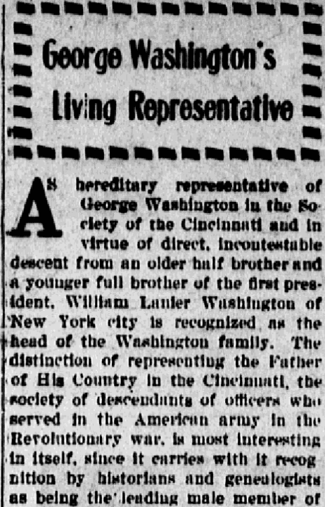 An article about a relation to George Washington, Evening News newspaper article 19 February 1915