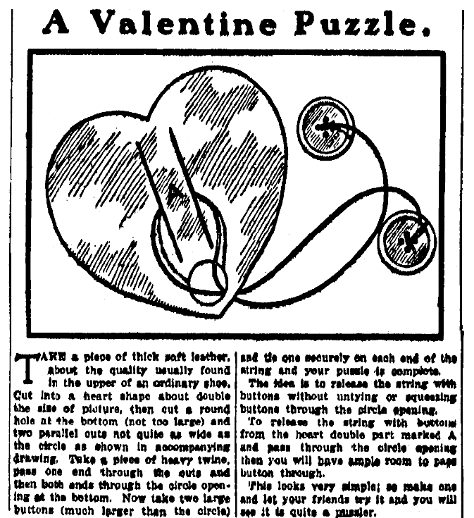 An article about a Valentine puzzle, Evening World newspaper article 14 February 1905