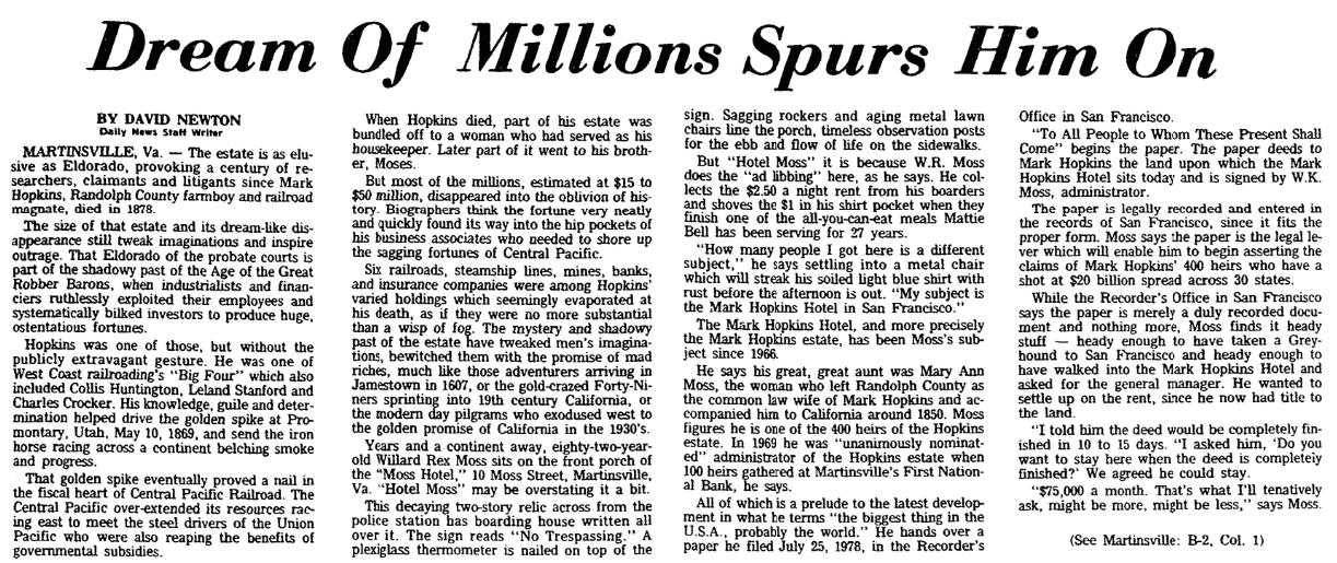 An article about the claims for the fortune left by Mark Hopkins, Greensboro Daily News newspaper article 4 September 1978