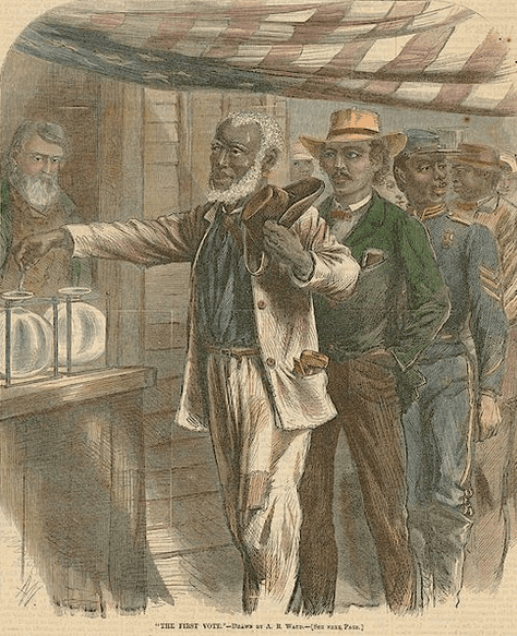 """Illustration: """"The First Vote,"""" as depicted on the cover of Harper's magazine"""