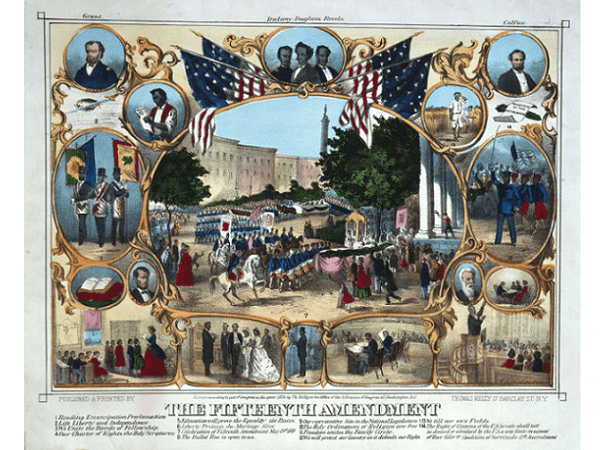 Illustration: an 1870 print celebrating the passage of the Fifteenth Amendment in February 1870, and the post Civil War political empowerment of African Americans. Credit: Thomas Kelly; Library of Congress, Prints and Photographs Division.