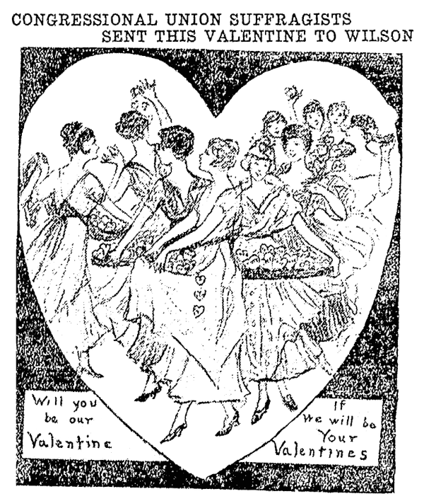 An article about suffragists' valentines, Kalamazoo Gazette newspaper article 15 February 1916