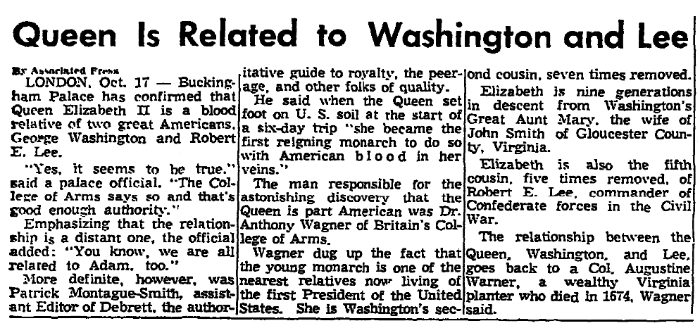 An article about a relation to George Washington, Knoxville News-Sentinel newspaper article 17 October 195