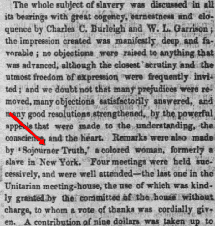 An article about Sojourner Truth, Liberator newspaper article 16 August 1850