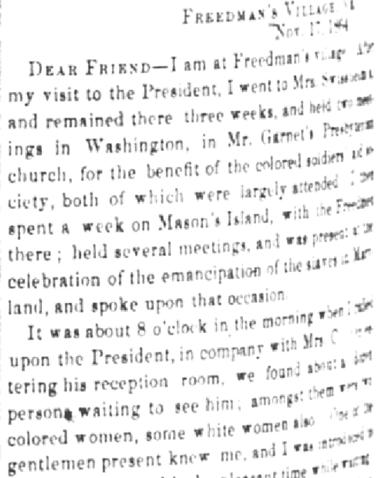 An article about Sojourner Truth, Liberator newspaper article 23 December 1864