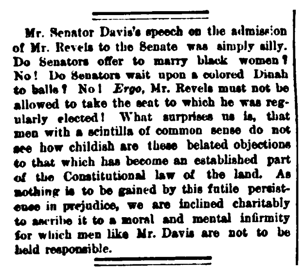 An article about Hiram Revels, New-York Daily Tribune newspaper article 26 February 1870