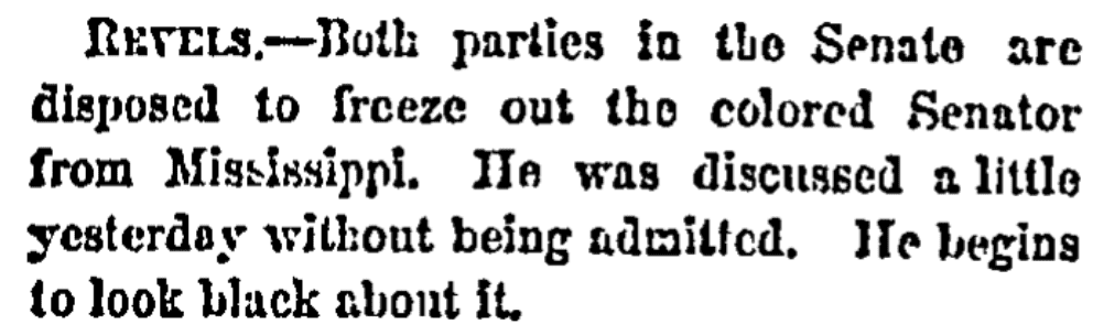 An article about Hiram Revels, New York Herald newspaper article 25 February 1870