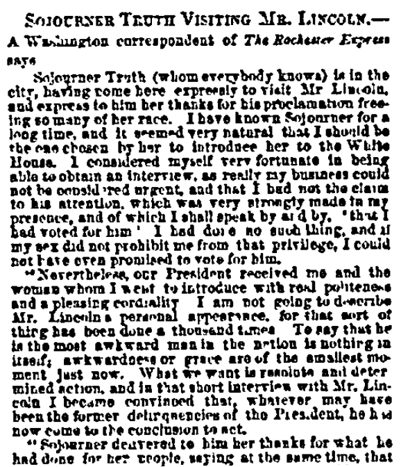 An article about Sojourner Truth, New York Tribune newspaper article 17 November 1864