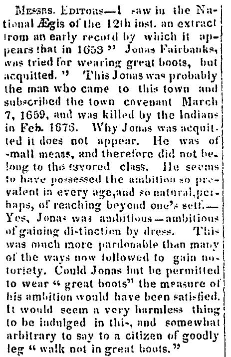 An article about Jonas Fairbanks, Newburyport Herald newspaper article 12 December 1828