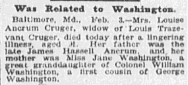 An article about a relation to George Washington, Omaha World-Herald newspaper article 4 February 1903