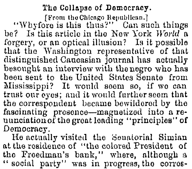 An article about Hiram Revels, Oregonian newspaper article 25 February 1870