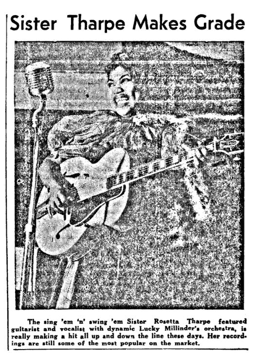 An article about Sister Rosetta Tharpe, Phoenix Index newspaper article 18 October 1941