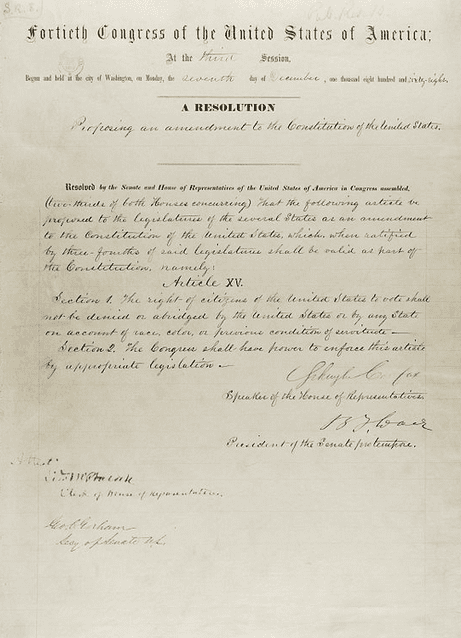 Photo: 15th Amendment of the United States Constitution
