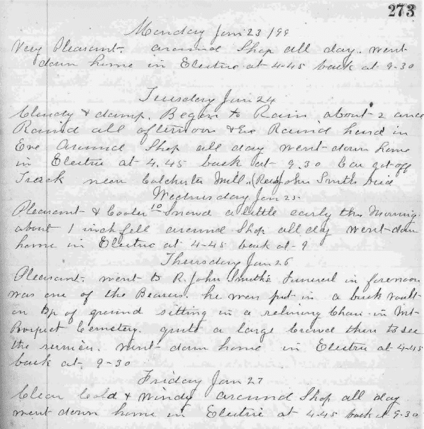 Photo: a page from the diary of Joseph Oliver Stearns