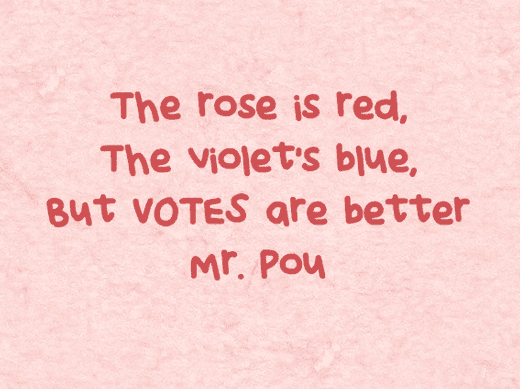 Photo: text of a suffrage valentine sent to Rep. Edward Pou (D), North Carolina's 4th congressional district.
