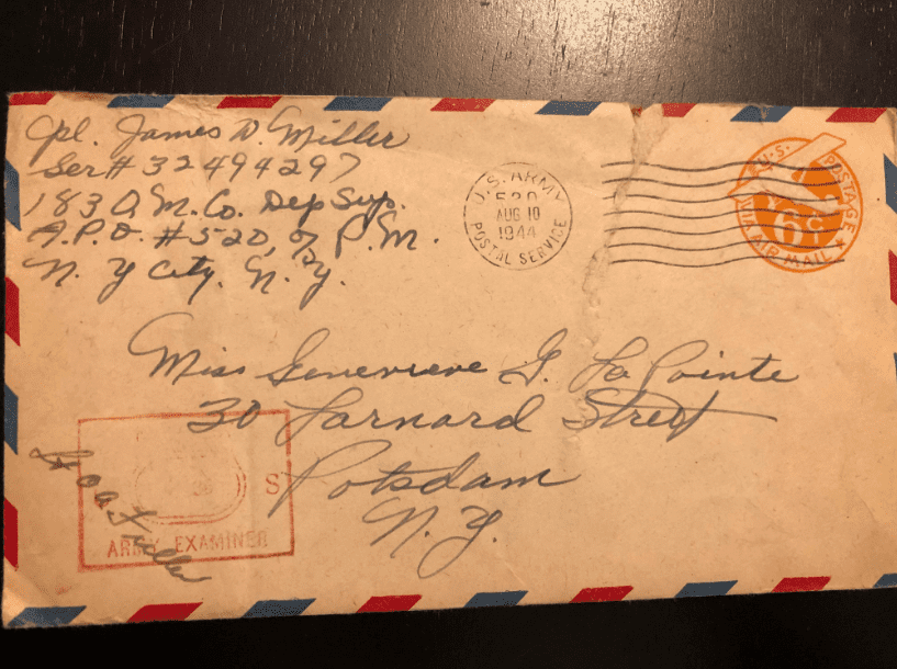"Photo: envelope of James and Genevieve LaPointe Miller. Middle initial: first use of ""G."""